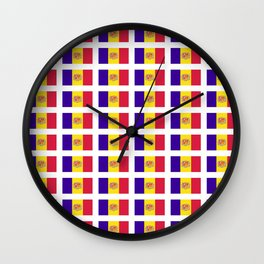 flag of andorra- andorre,andorra,andorran,catalan,pyrenees,pyrenean Wall Clock