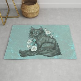 Maine Coon Cat and Moonflowers Rug