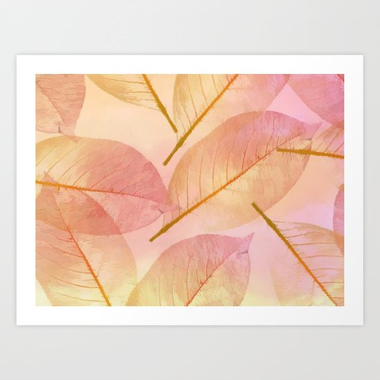 Pastel Fall Leaf Abstract Art Print