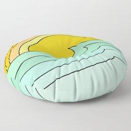 ride rainbows // retro surf soul // art by surfy birdy Floor Pillow