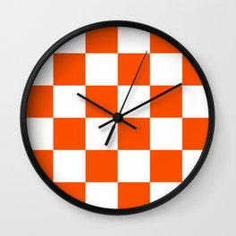 Large Checkered - White and Dark Orange Wall Clock