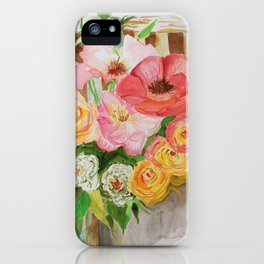 Flowers on a Chippy Chair iPhone Case