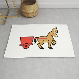 Mule and cart icon Rug