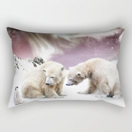 Polar Bears and Penguin Rectangular Pillow