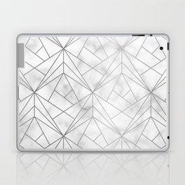 Geometric Silver Pattern on Marble Texture Laptop & iPad Skin