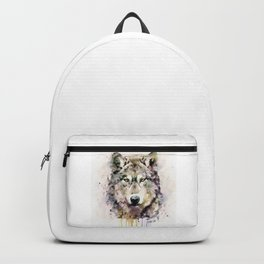 Wolf Head Watercolor Portrait Backpack