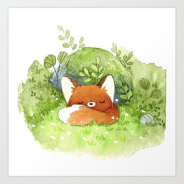 Little fox sleeping Art Print