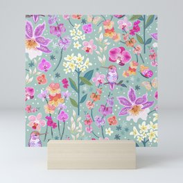 Orchid Garden on Sage Green Mini Art Print