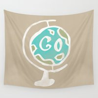 globe Wall Tapestries featuring Just Go - World Globe by Allyson Johnson