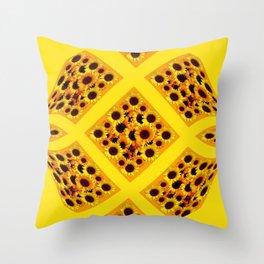 ABSTRACT GOLDEN YELLOW SUNFLOWERS  PATTERN  DESIGN Throw Pillow