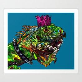 Punk Iguana Art Print