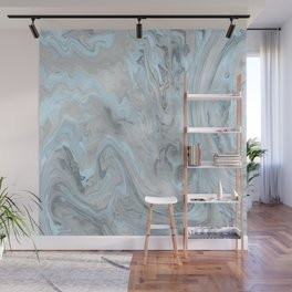 Ice Blue and Gray Marble Wall Mural