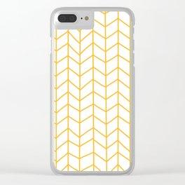 Yellow Herringbone Clear iPhone Case
