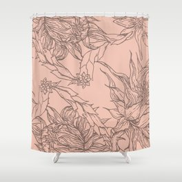 botanical linewokr Shower Curtain