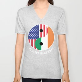 USA Ireland Ying Yang Heritage for Proud Irish American, Biracial American Roots, Culture, Unisex V-Neck
