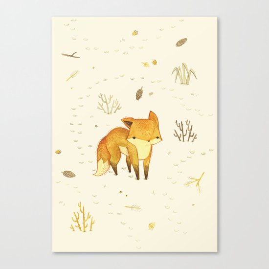 Lonely Winter Fox Canvas Print