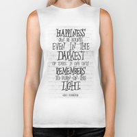 dumbledore Biker Tanks featuring Albus Dumbledore Quote Inspirational by Go Art