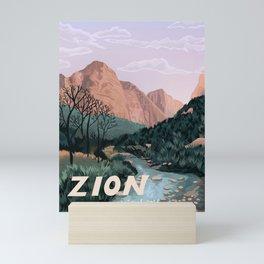 Zion National Park, Utah, USA Illustrated National Parks Mini Art Print