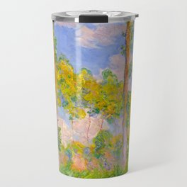 Claude Monet Impressionist Landscape Oil Painting Poplars in the Sun Travel Mug