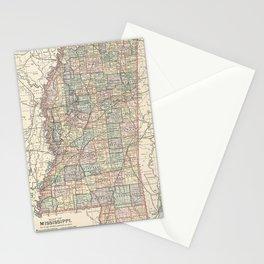 Vintage Map of Mississippi (1891) Stationery Cards