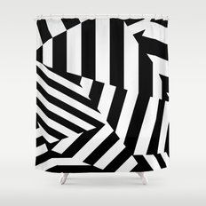 RADAR/ASDIC Black and White Graphic Dazzle Camouflage Shower Curtain