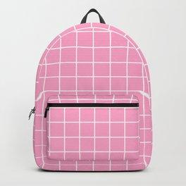 Carnation pink - pink color - White Lines Grid Pattern Backpack