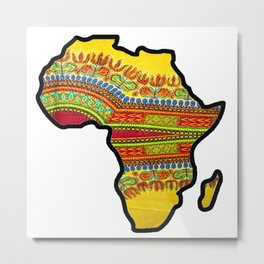 Gold Dashiki Africa Map Metal Print