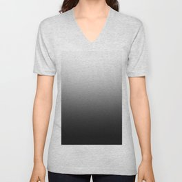 White to Black Horizontal Linear Gradient Unisex V-Neck