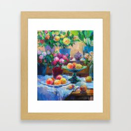 Still Life with Flowers and Fruits Framed Art Print