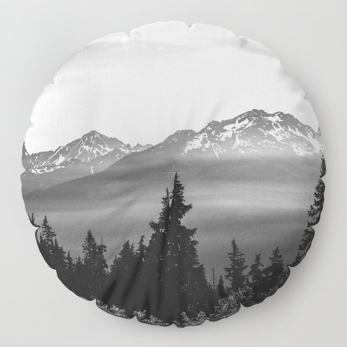 Morning in the Mountains Black and White Floor Pillow