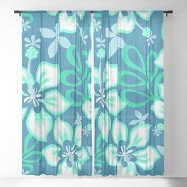 Aqua and White Hawaiian Hibiscus Flower Bloom Pattern on Blue Sheer Curtain