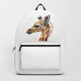 Giraffe Watercolor Cute Baby Animals Backpack
