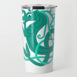 Green Celtic Seahorse Travel Mug