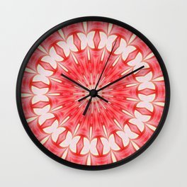 Star White and Red Butterfly Motif Mandala Wall Clock