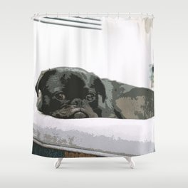 Black Pug Lying On The bed Shower Curtain