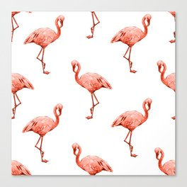 Simply Pink Flamingo in Deep Coral on White Canvas Print