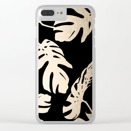 Simply Palm Leaves in White Gold Sands on Midnight Black Clear iPhone Case