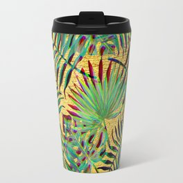 Palm Leaf on Gold Travel Mug