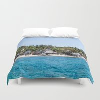 philippines Duvet Covers featuring Chapel Reef at Apo Island Philippines by Jennifer Stinson
