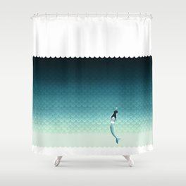 Suomu Blue mermaid scale pattern with a mermaid Shower curtain or Duvet cover Shower Curtain