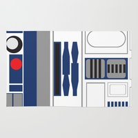 r2d2 Area & Throw Rugs featuring Star Wars - R2D2  by Adrian Mentus
