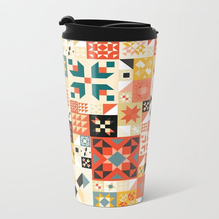 Modern Quilt Pattern Metal Travel Mug
