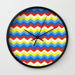 Primary Color Neck Gator Chevron Primary Colors Wall Clock