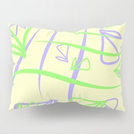 Geometric pastel pattern of vegetative blue and green elements on a sand background. Pillow Sham
