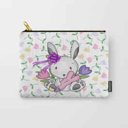 Easter Bunny And Tulips Carry-All Pouch