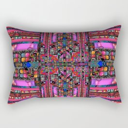 no. 251 pink green multicolored pattern Rectangular Pillow