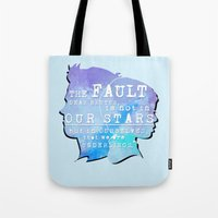 the fault in our stars Tote Bags featuring The fault in our stars by //SOLIDS//