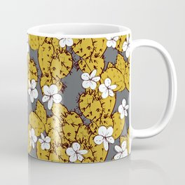 cactus with flowers sketch golden mustard, black contour on Gray background. simple ornament Coffee Mug