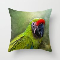parrot Throw Pillows featuring parrot by lucyliu