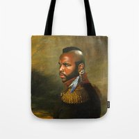 replaceface Tote Bags featuring Mr. T - replaceface by replaceface